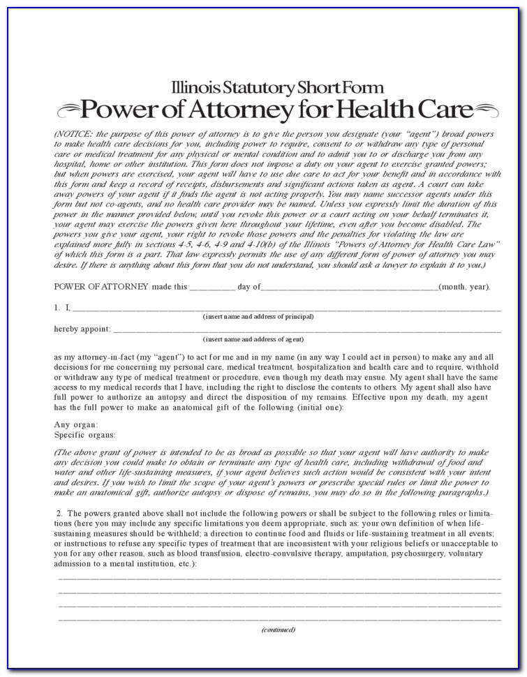 Health Care Power Of Attorney Form Georgia