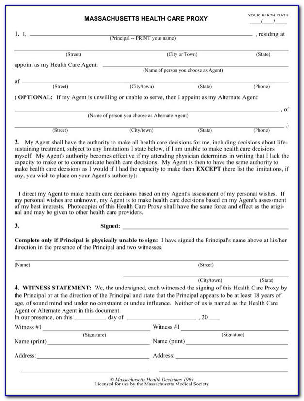 Health Care Proxy Form Massachusetts 2015