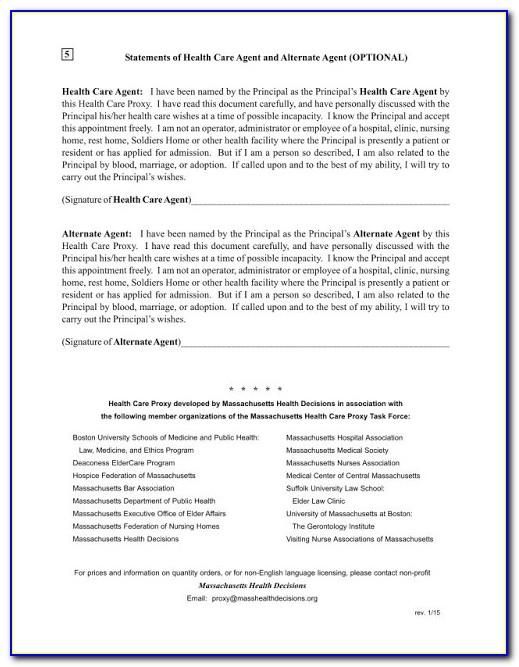 Health Care Proxy Form Massachusetts 2016