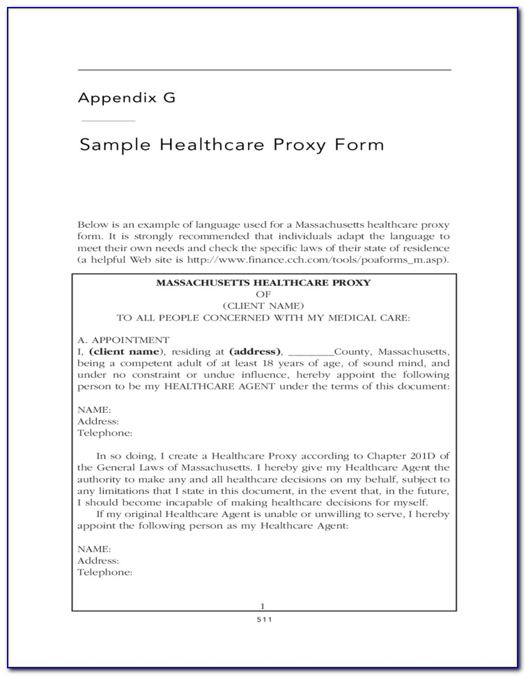 Health Care Proxy Form New York