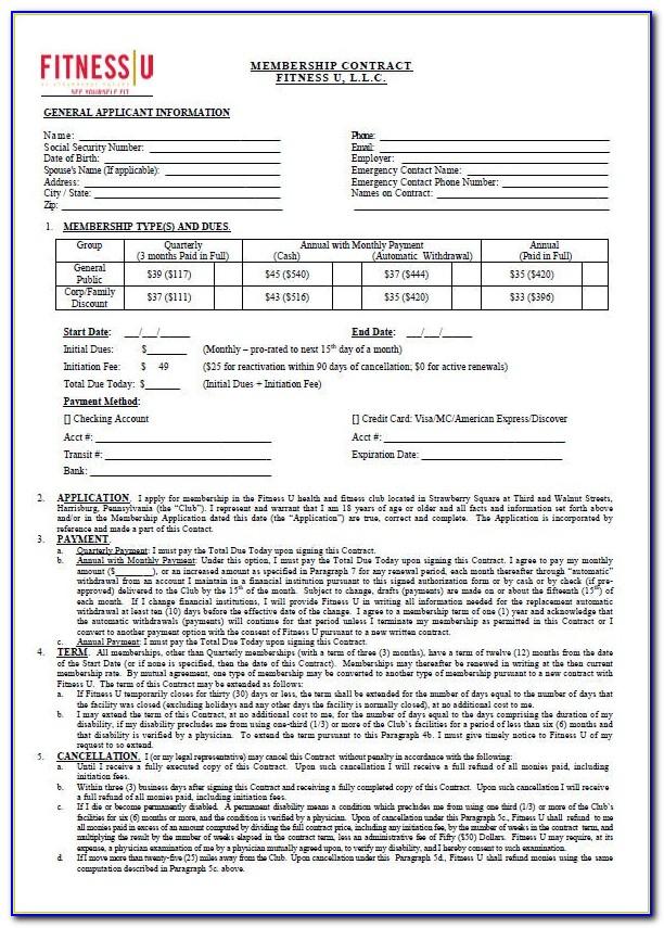 Health Club Membership Application Form Template