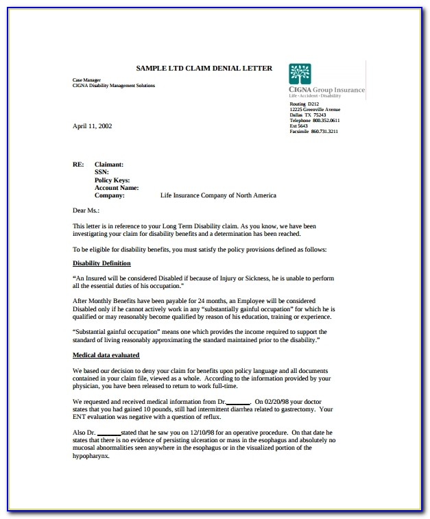 Health Insurance Denial Letter Sample
