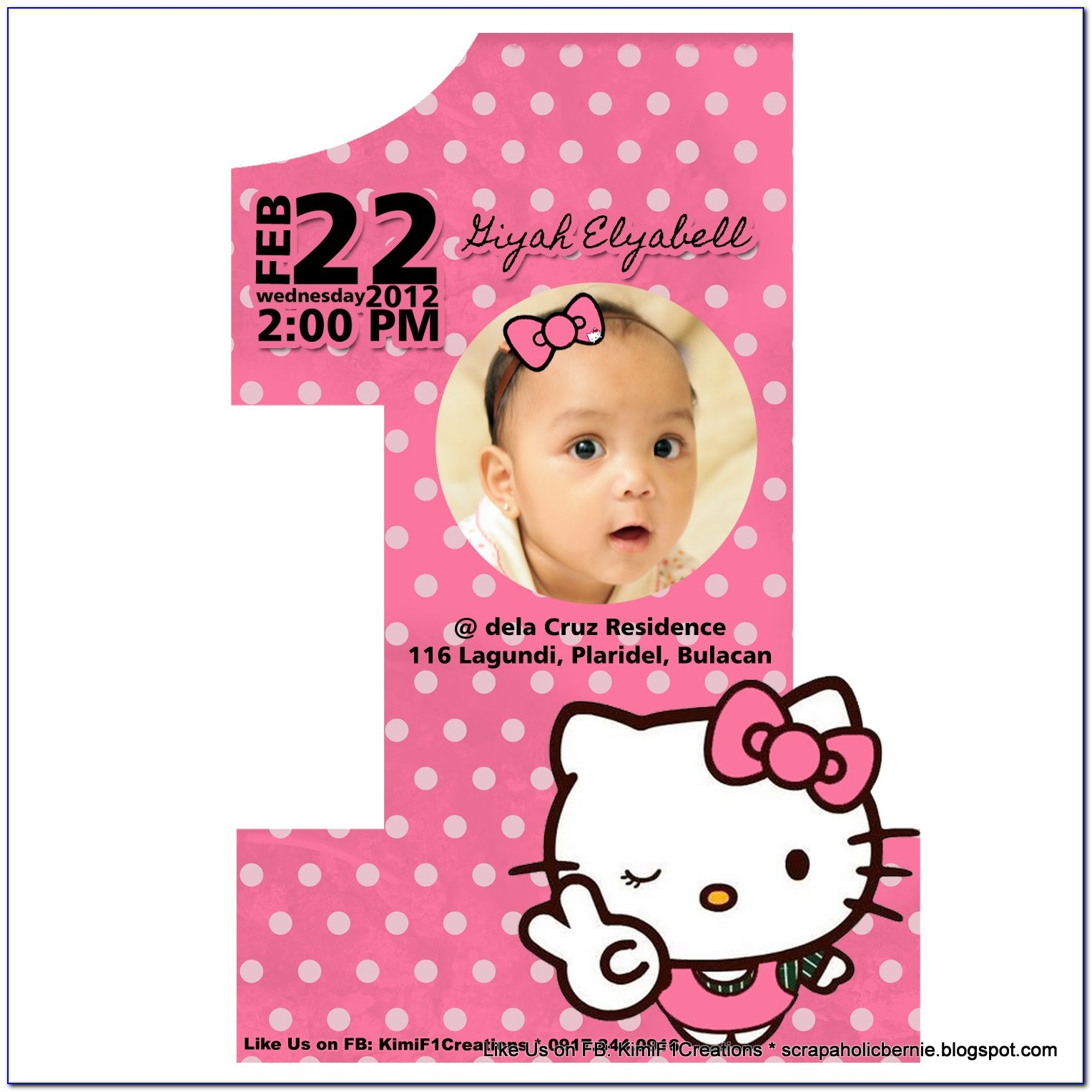 Hello Kitty 1 St Birthday Invitation Template