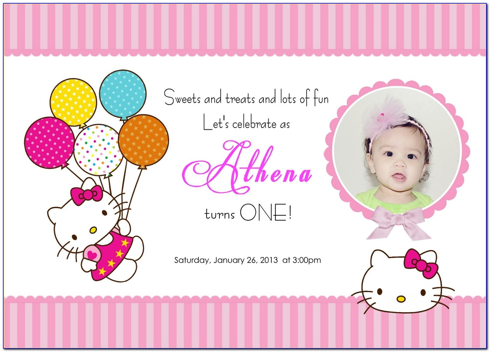 Hello Kitty 1st Birthday Invitation Template