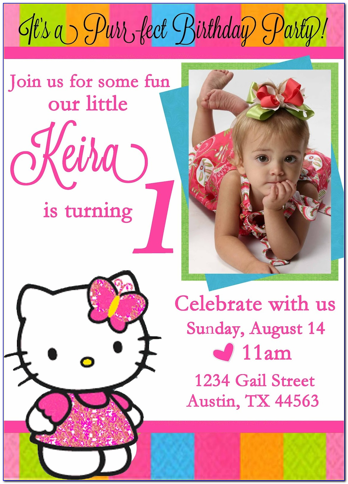 Hello Kitty 1st Birthday Invitation Wordings