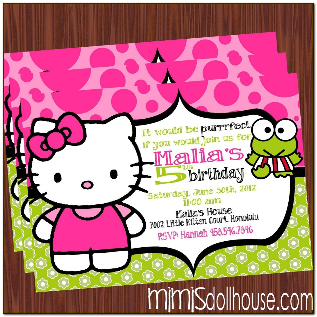 Hello Kitty 7th Birthday Invitation Layout