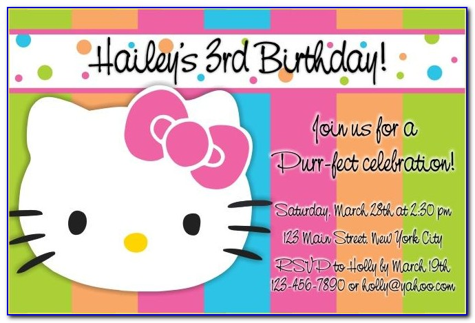 Hello Kitty 7th Birthday Invitation Wording
