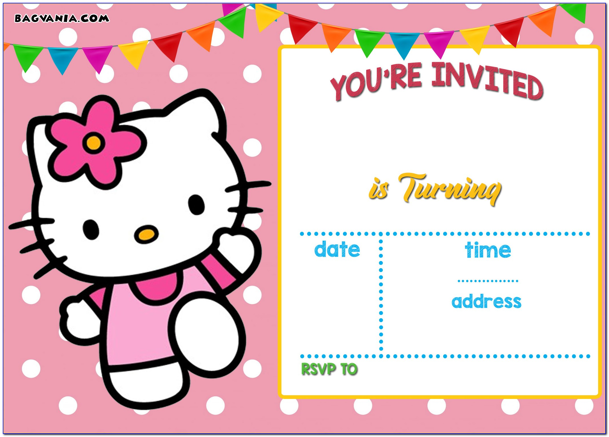 Hello Kitty Birthday Invitation Card Design
