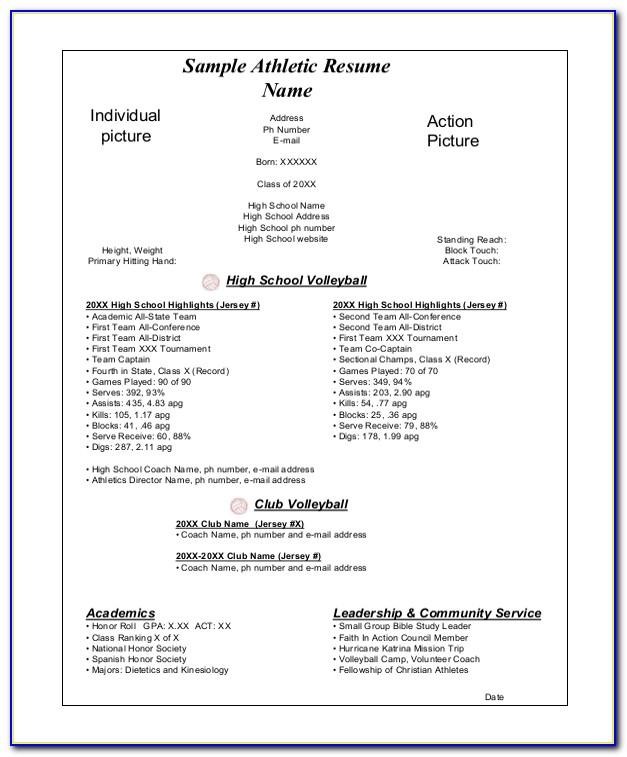 High School Athletic Resume Template