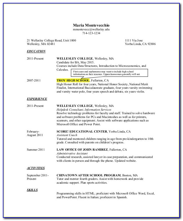 High School Graduate Resume Example