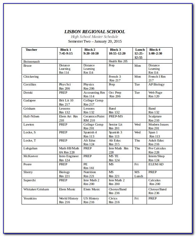 High School Master Schedule Examples