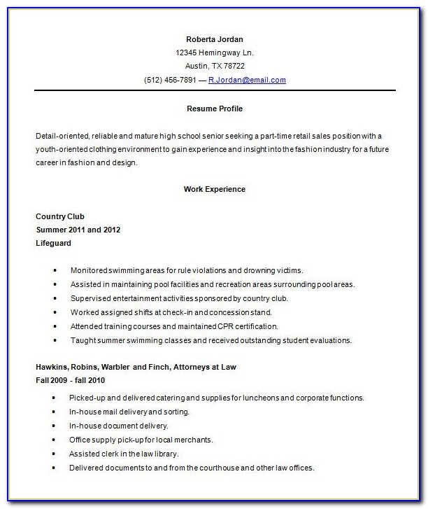 High School Resume Outline Templates