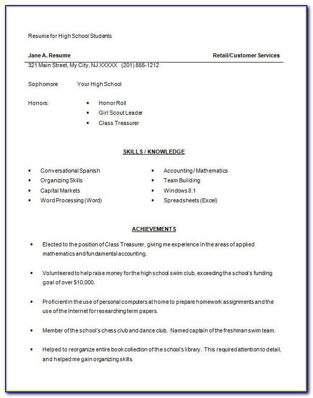 High School Resume Template Free