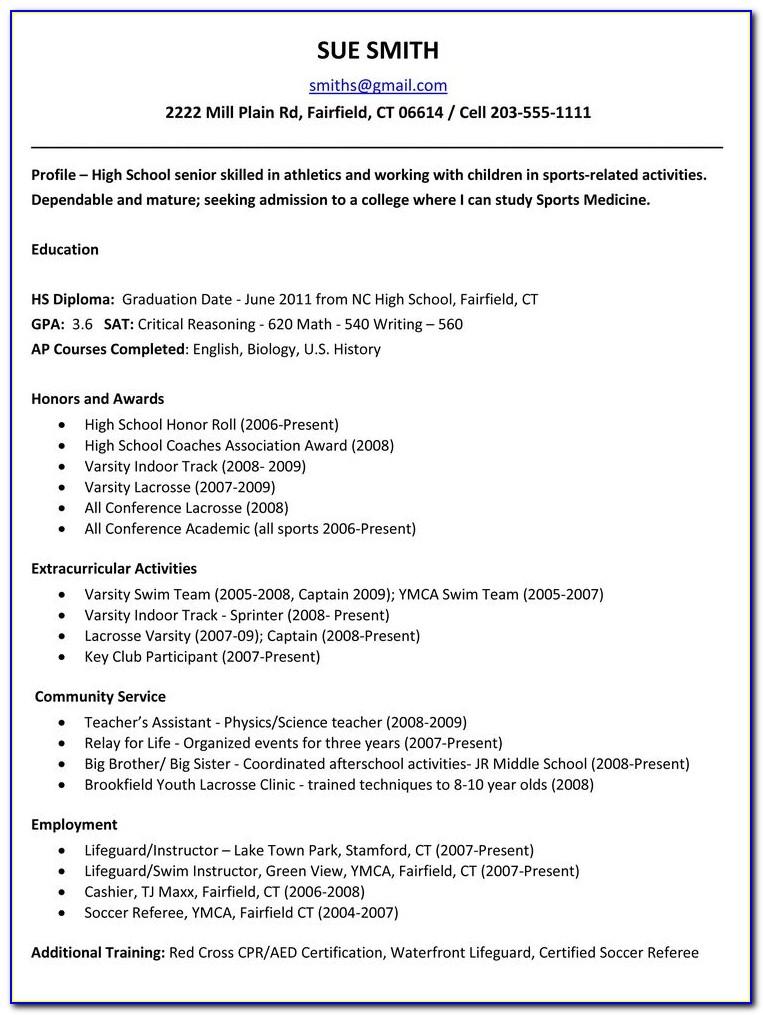 High School Resume Templates Free