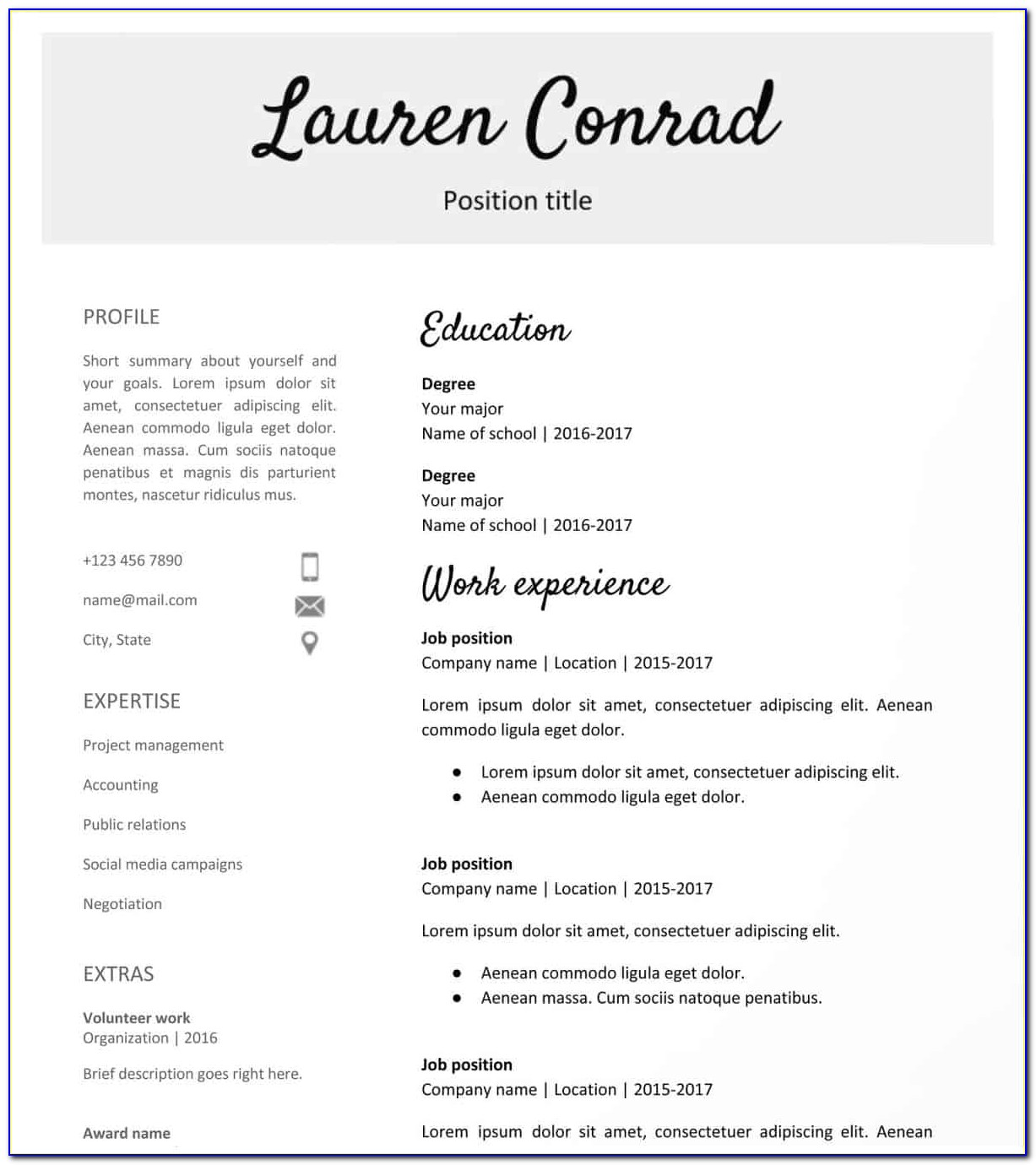 High School Student Resume Format Pdf Download