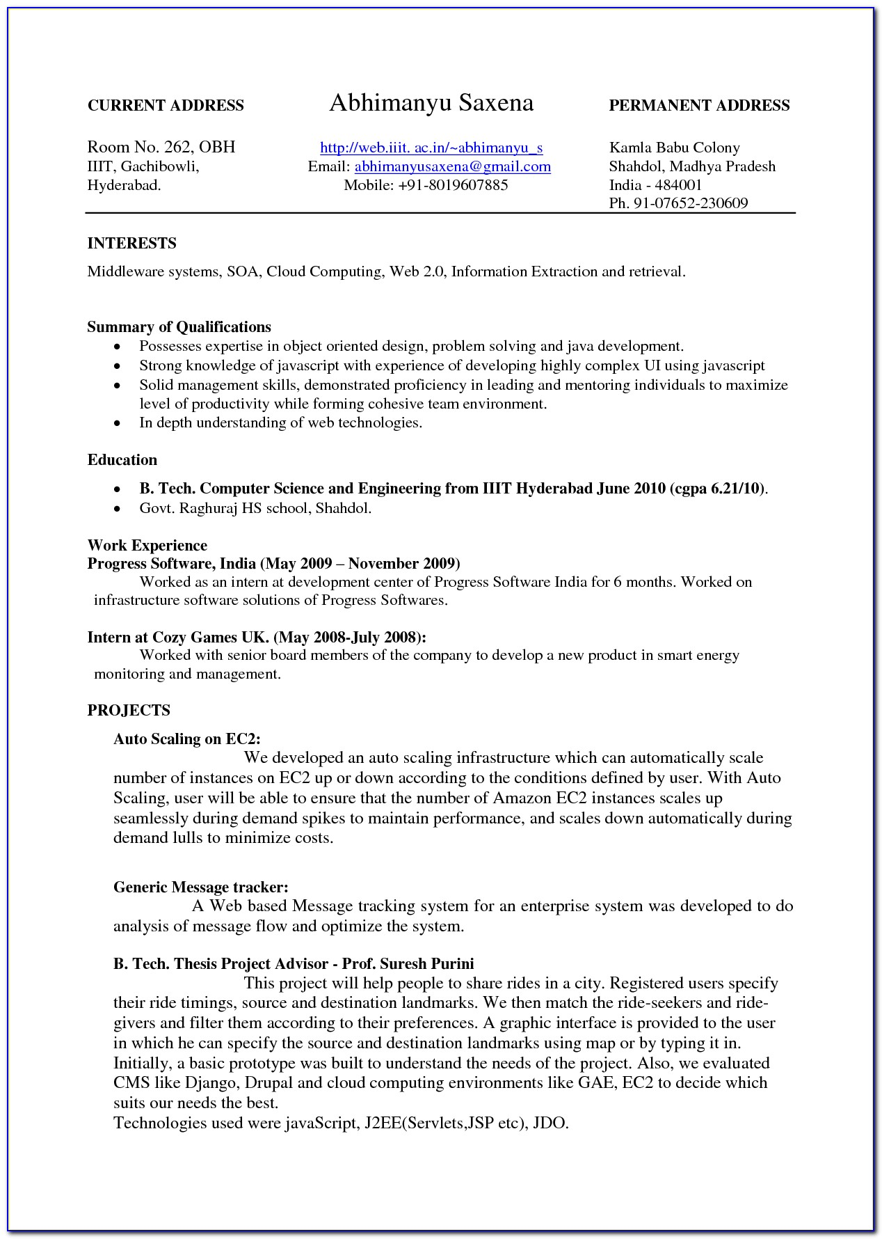 High School Student Resume Templates For College