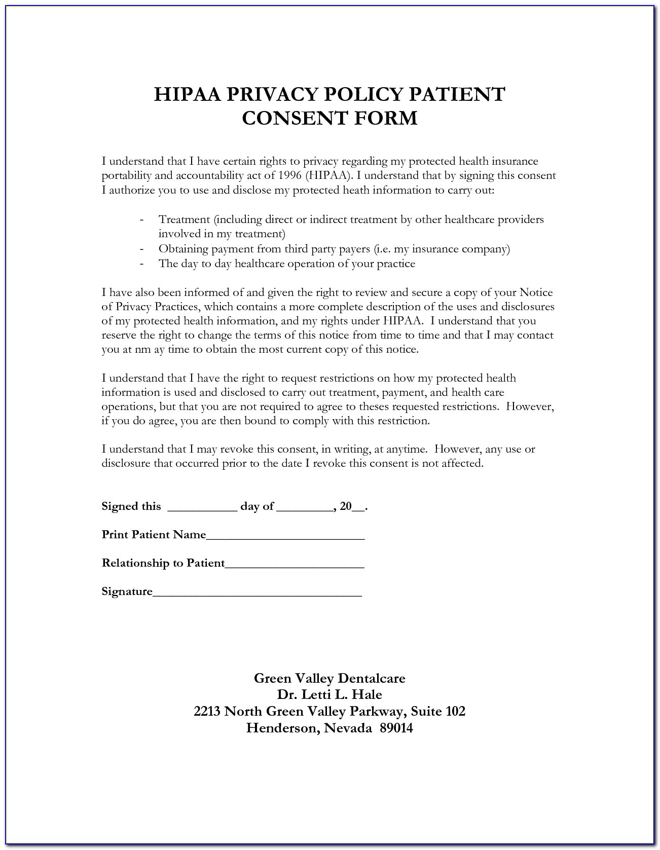 Hipaa Privacy Form Template