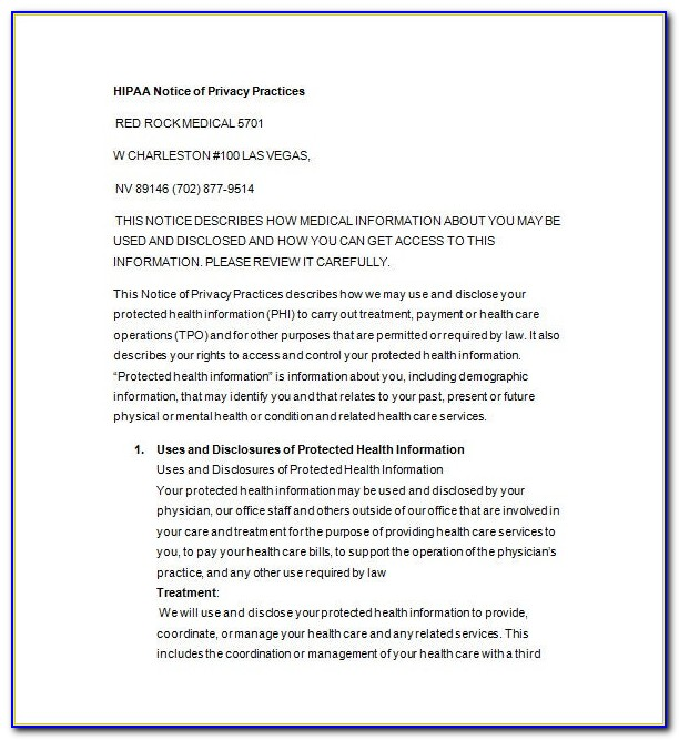 Hipaa Privacy Policy Template Free