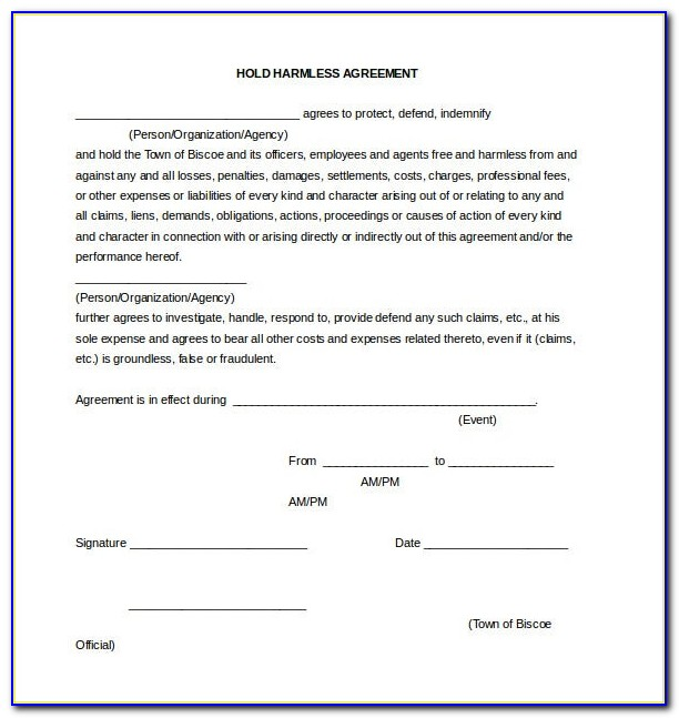 Hold Harmless Agreement Template Food