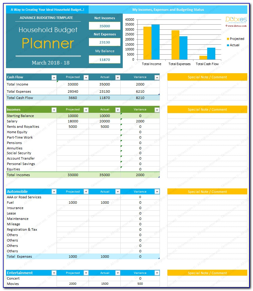 Home Budget Templates Free Excel