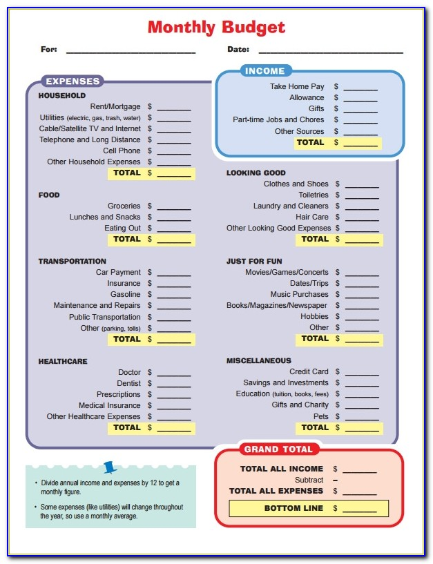 Home Budget Worksheet Template Free