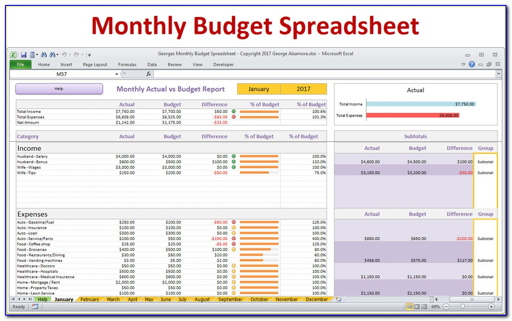 Home Budget Worksheet Template
