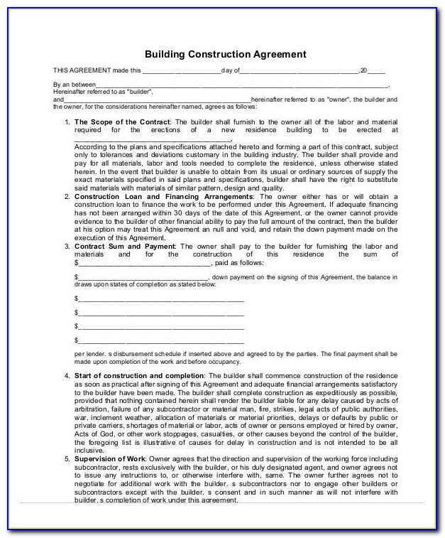 Home Building Contract Example