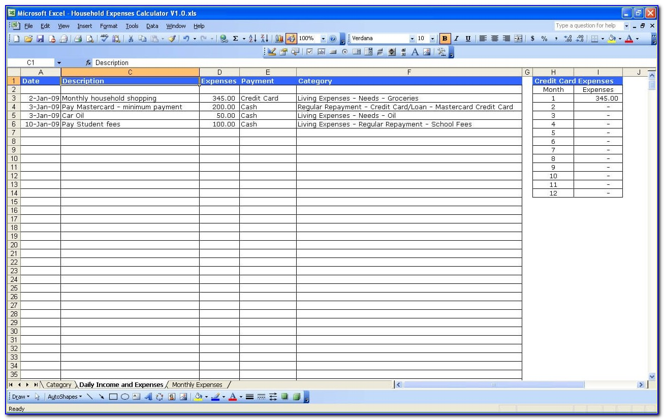 Home Expenses Template Free