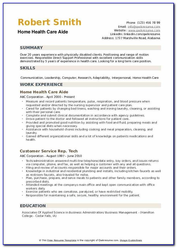 Home Health Care Aide Resume Sample
