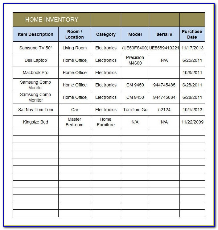 Home Inventory List Template Excel