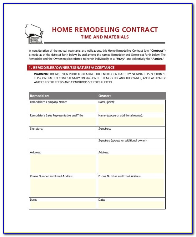 Home Remodeling Contract Form