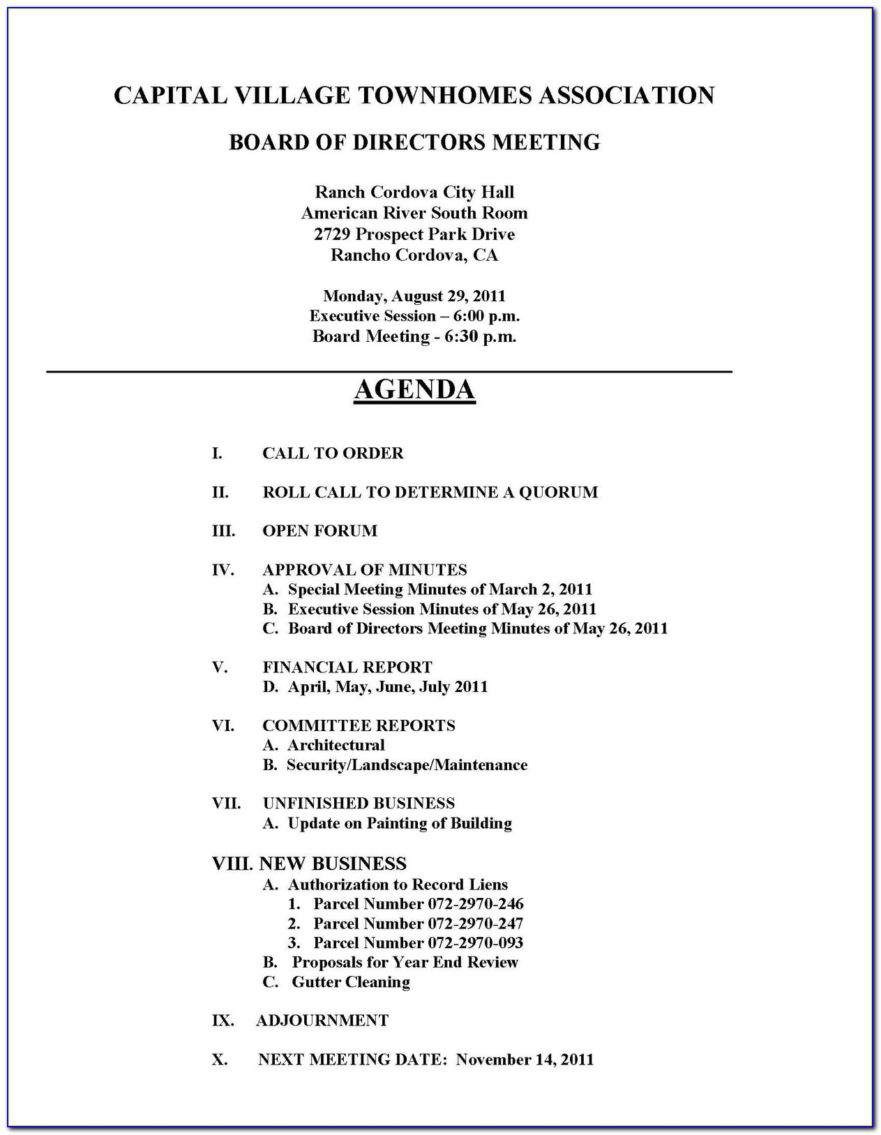 Homeowners Association Board Meeting Minutes Template