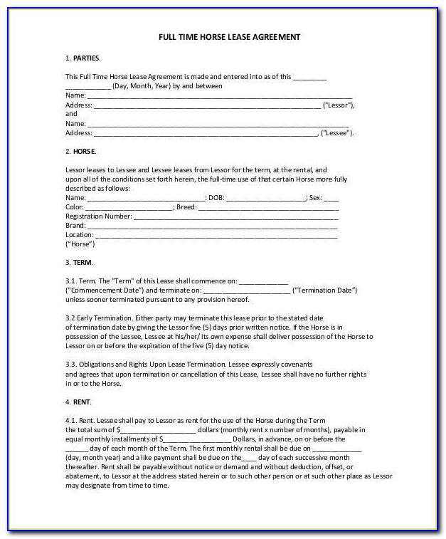 Horse Facility Lease Agreement Template