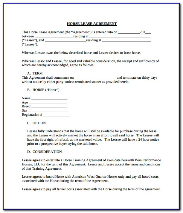 Horse Lease Agreement Contract