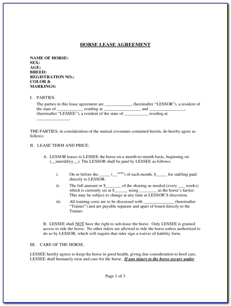Horse Lease Agreement Form Australia