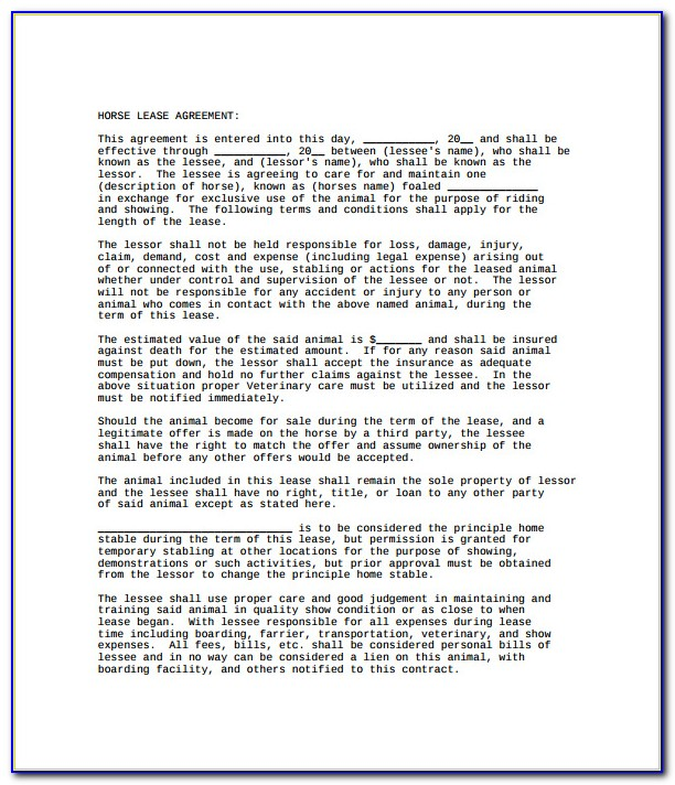Horse Lease Agreement Word Document