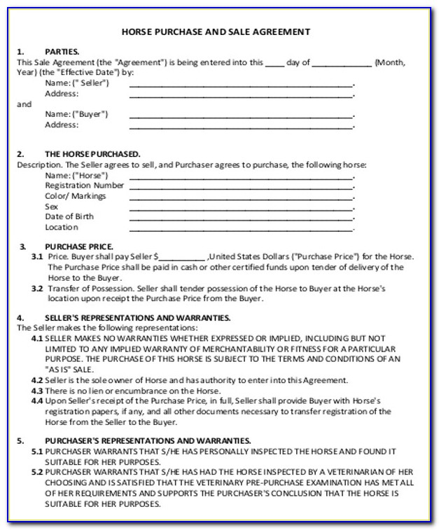 Horse Sale Contract Form