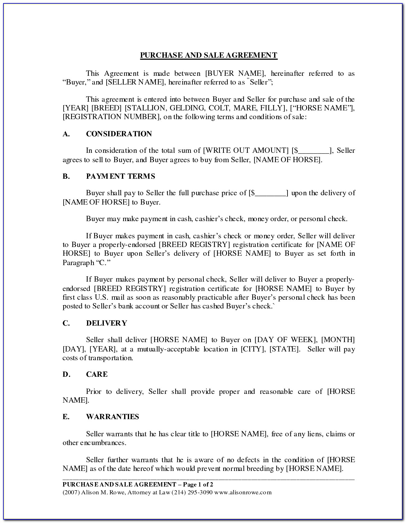 Horse Sale Contract Sample