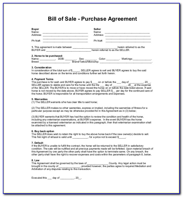 Horse Sales Agreement Template