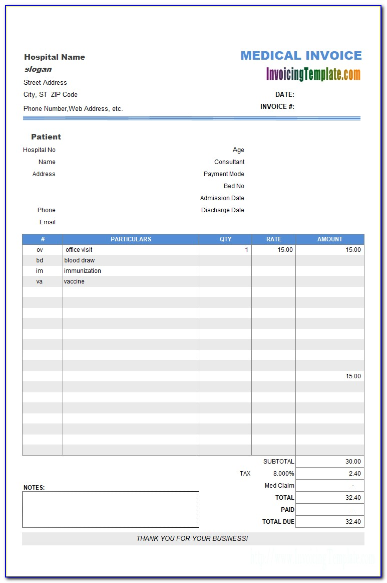 Hospital Bill Format In Excel Free Download