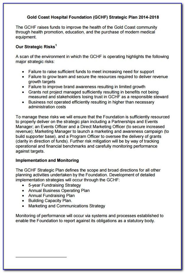 Hospital Strategic Plan Sample
