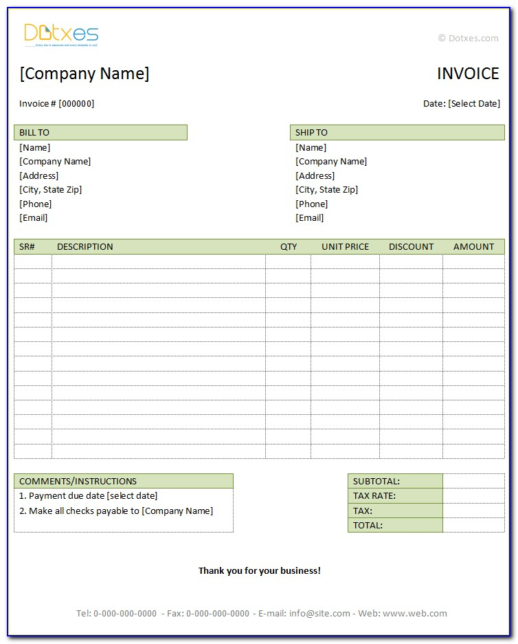 Hotel Invoice Template Excel Free Download