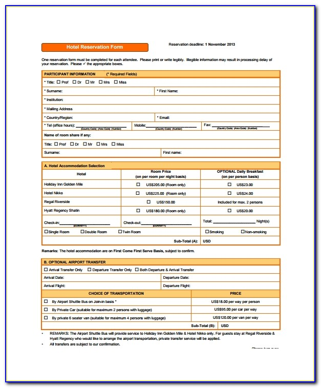 Hotel Reservation Form Template Html Free Download