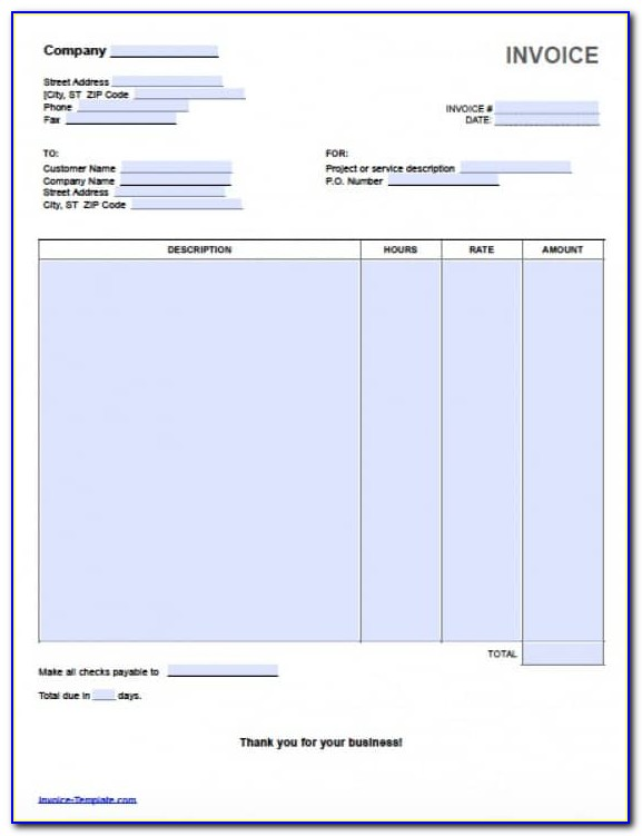 Hourly Invoice Template Excel