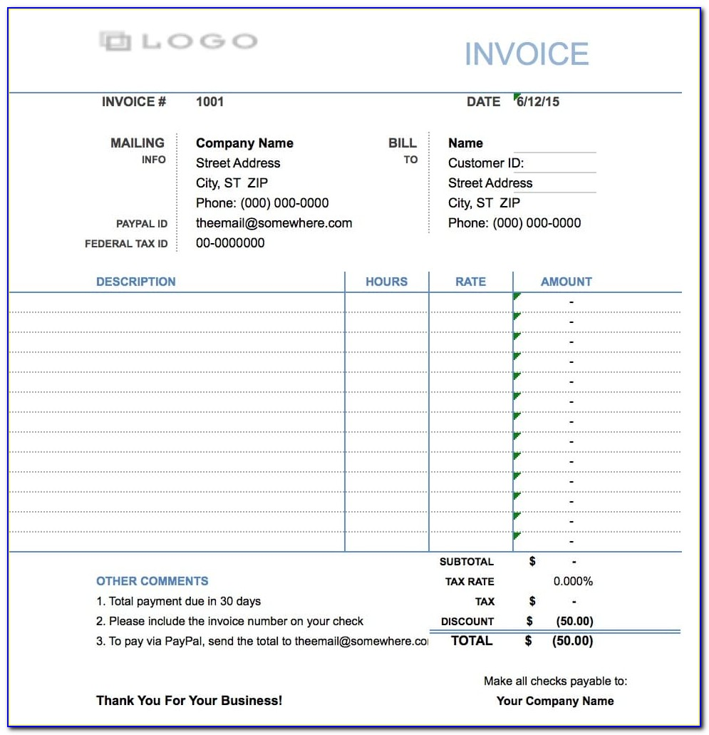 Hourly Wage Invoice Template