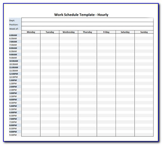 Hourly Work Planner Template
