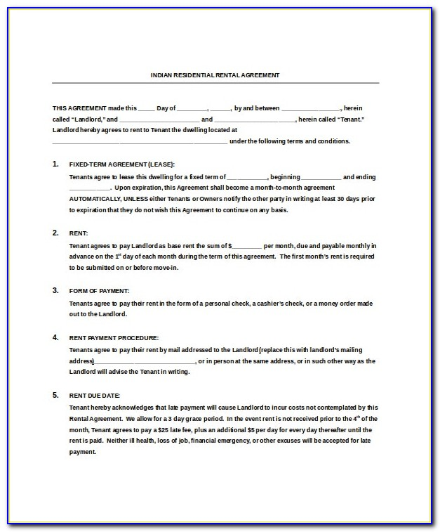House Lease Agreement Template South Africa