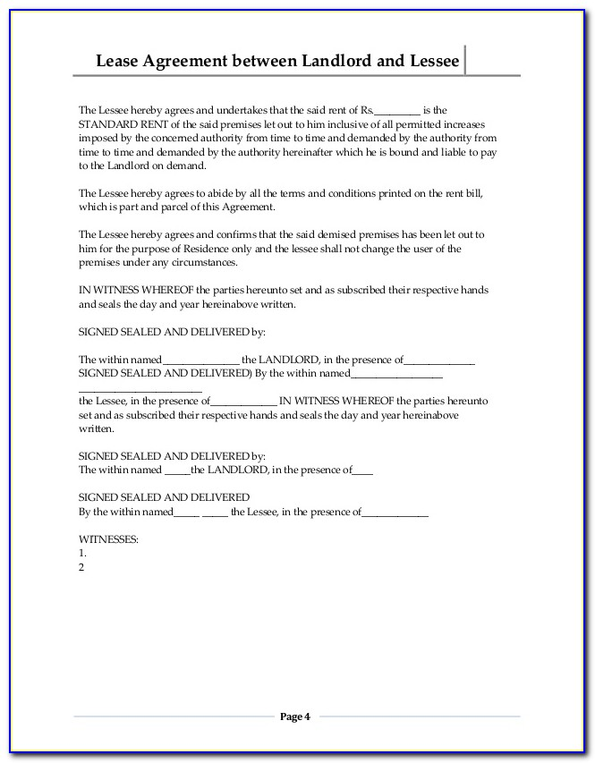 House Letting Contract Template Uk