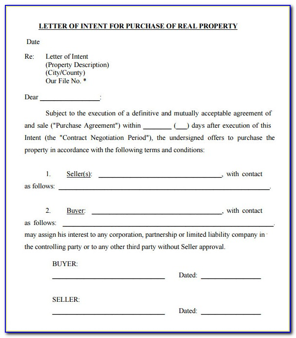 House Purchase Offer Letter Example