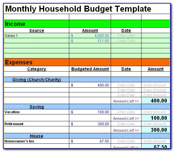 Household Budget Examples Excel